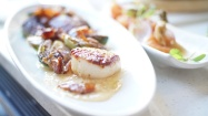 Pan seared scallops, Brussel sprouts, bacon and apricot horse radish sauce