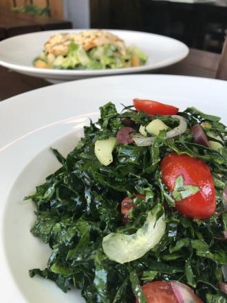 Kale Salad, kale, kalamata olives, red onion, grape tomatoes, cucumbers and red wine vinaigrette