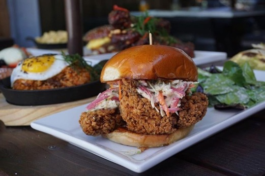 Fried Chicken Sandwich, fried chicken breast, slaw, pickled red onion, chipotle mayo (TonyEATS)